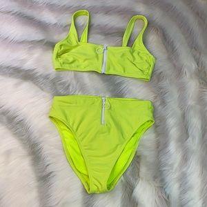 VINTAGE VIBES: Neon Yellow Zip Bikini